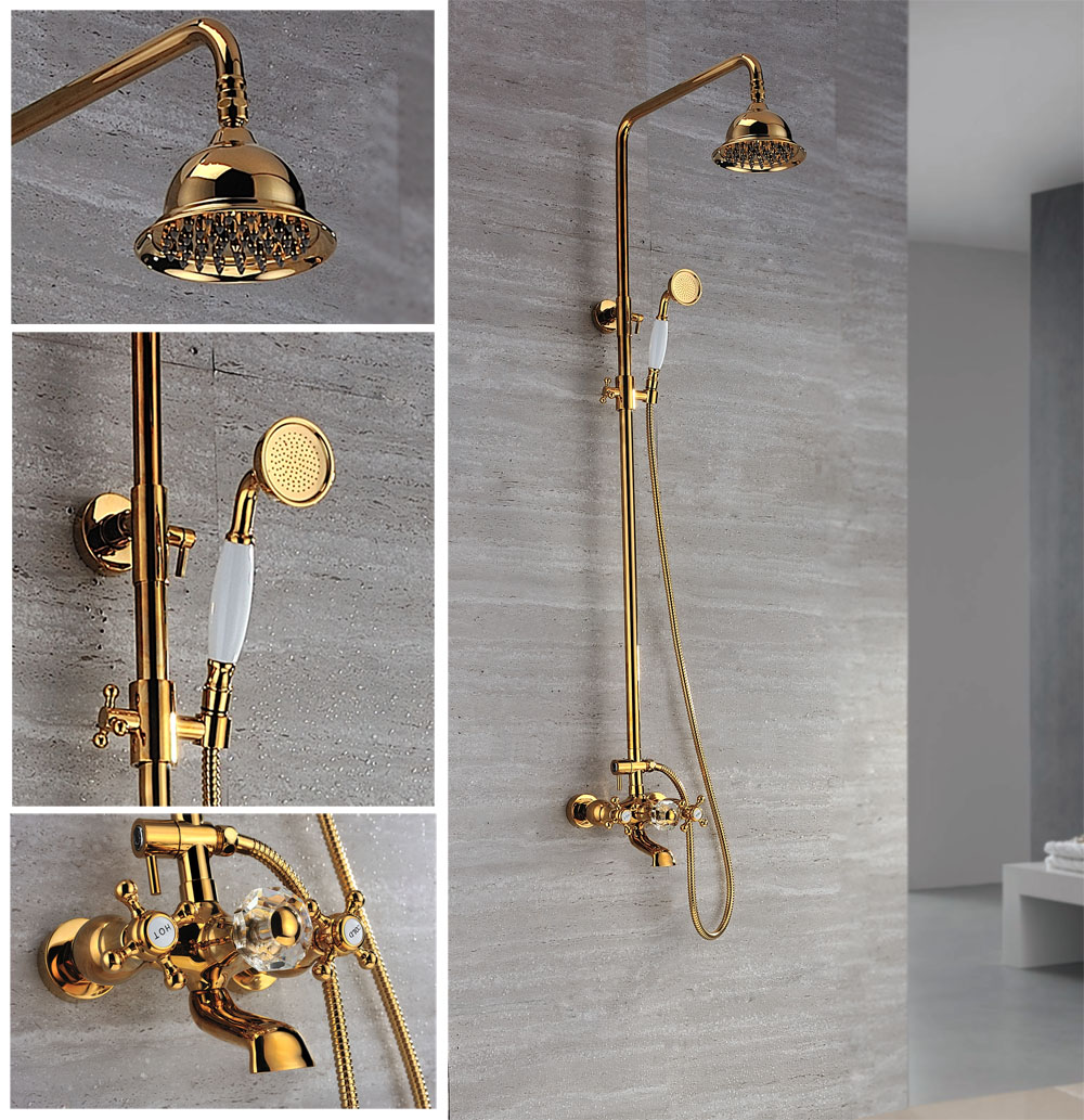 compare prices on gold bath faucets online shopping buy low price free ship gold clour waterfall rainfall shower tub faucet mixer tap with handshower crystal diverter