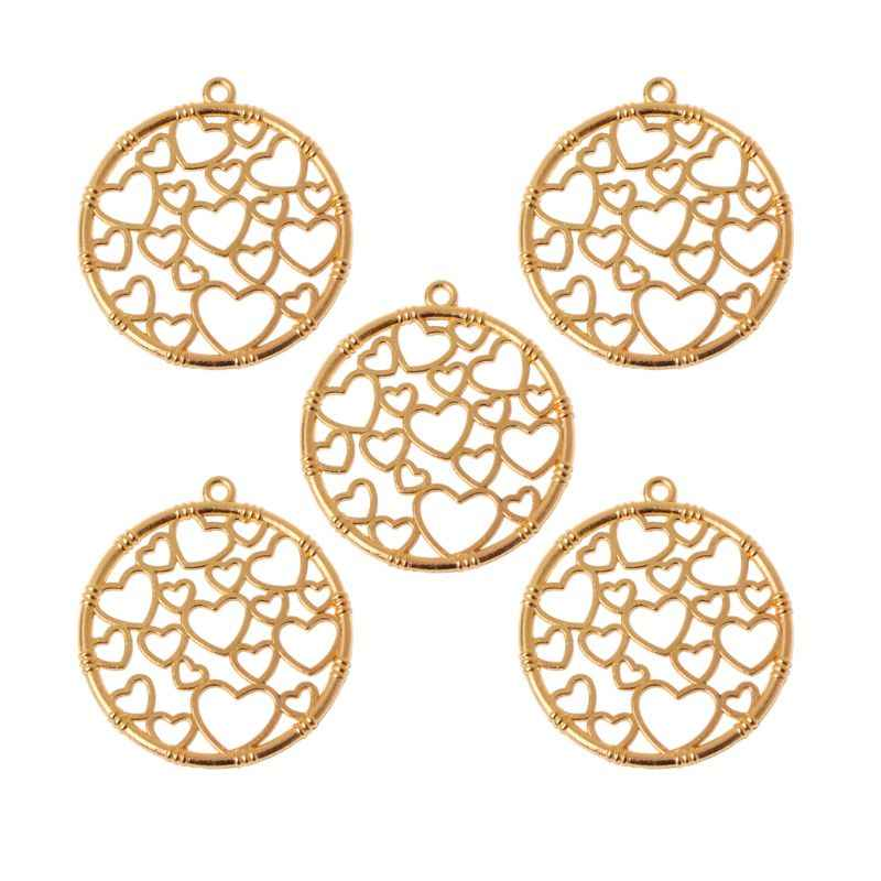 5Pcs Round Heart Pendant Metal Frames Blank Bezel Setting UV Resin Jewelry DIY