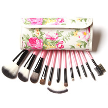 12 Pcs Professional Makeup Brush Sets Peony Printed Natural Hair Brush Set Powder Eye shadow Make