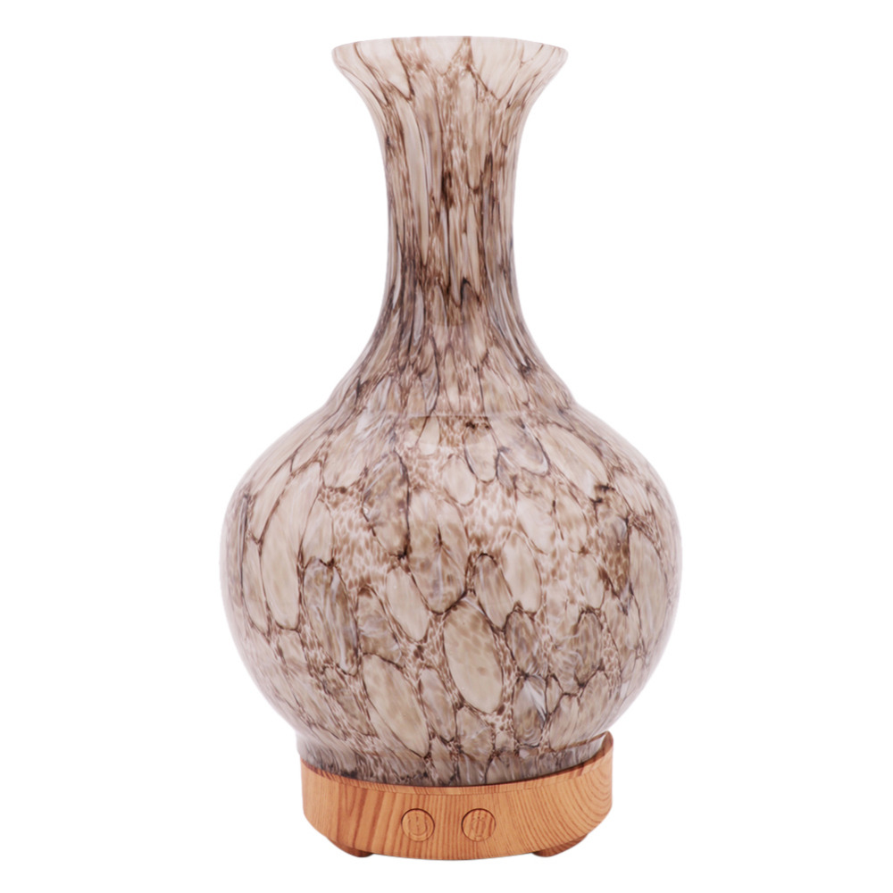 100Ml Ultrasonic Air Humidifier Aroma Essential Oil Diffuser 3D Glass+Wood Grain Aromatherapy Diffuser With 7 Color LED Light
