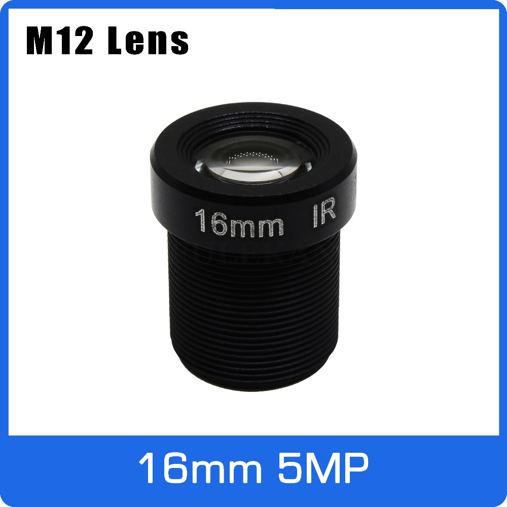 5Megapixel M12 Fixed 1/2 inch 16mm CCTV Lens Long Distance View For 1080P/4MP/5MP AHD Camera IP Camera Free Shipping 6mm 3mp f1 2 1 2 5 inch sony imx290 imx291 lens for 1080p 3mp ultra low light ip camera cctv camera free shipping