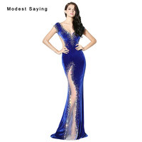 Sexy Royal Blue Mermaid Velvet Evening Dress 2017 With Rhinestone Formal Engagement Long Party Prom Gowns