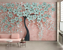 beibehang Wallpaper mural simple Nordic flower tree 3d stereo TV background wallpaper home decoration living room 3d wallpaper free shipping 3d stereo courtyard scenery wallpaper bedroom living room decoration flower garden false window wallpaper mural