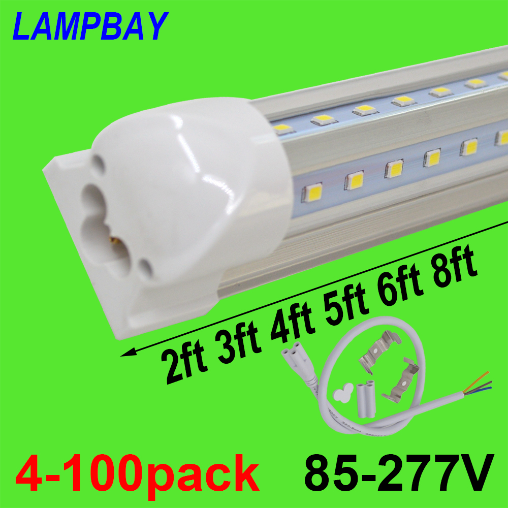 4-100pcs LED Tube Lights V shaped 270 angle 2ft 3ft 4ft 5ft 6ft 8ft Bar Lamp T8 Integrated Bulb Fixture Linkable Super Bright 4 pack free shipping t5 integrated led tube lights 5ft 150cm 24w lamp fixture with accessory milky clear cover 85 277v