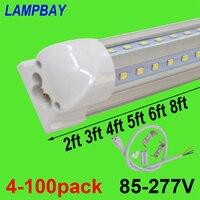 4 100pcs LED Tube Lights V shaped 270 angle 2ft 3ft 4ft 5ft 6ft 8ft Bar Lamp T8 Integrated Bulb Fixture Linkable Super Bright