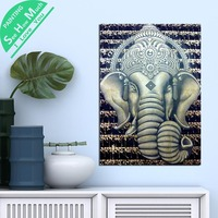 1 Piece Ganesha God Buddha Face HD Printed Canvas Wall Art Posters and Prints Poster Painting Framed Artwork Room Decoration