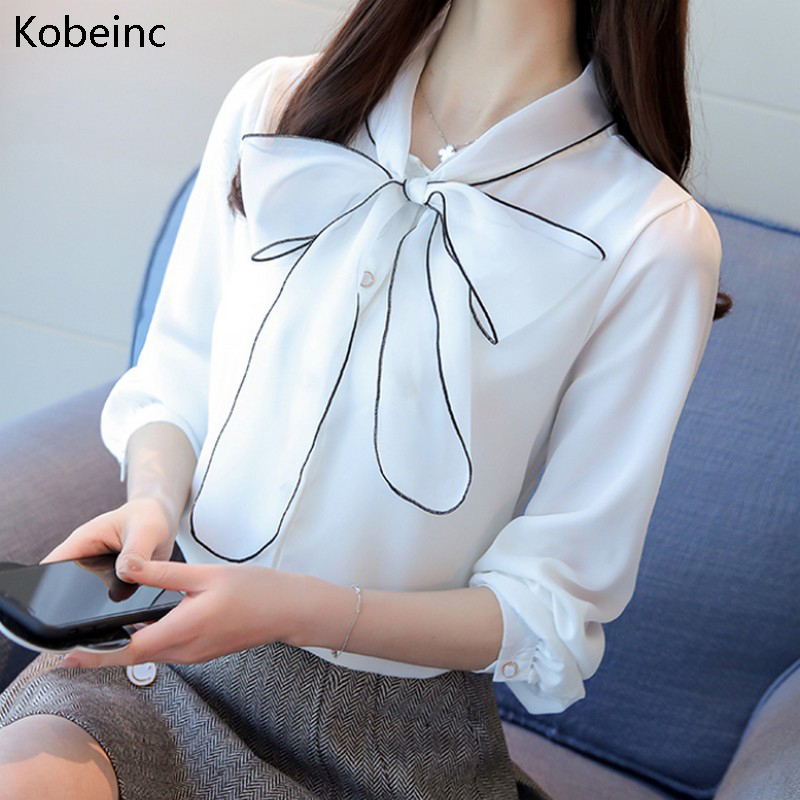 2018 Ladies Bowknot Blouse Femme Chiffon Lace Up Collar Shirts For Women White Brief Elegant Bluse Long Sleeve Blouses Shirts