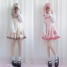 Весеннее Новое милое платье лолиты в японском студенческом стиле, мягкое кружевное платье в клетку для девушек