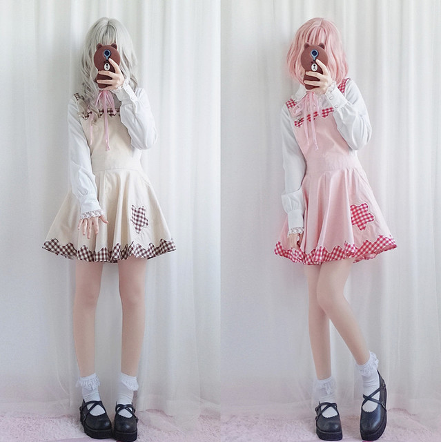 2018 spring new Japanese college style cute girl soft sister lace plaid  student strap Lolita dress female 7c6b4f30e