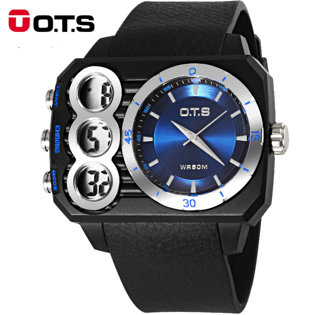 Moda OTS Esportes Relógio Digital Com Alarme Cronômetro relógios de Pulso dos homens Da Marca Ao Ar Livre Militar À Prova D' Água LED relógios Casual