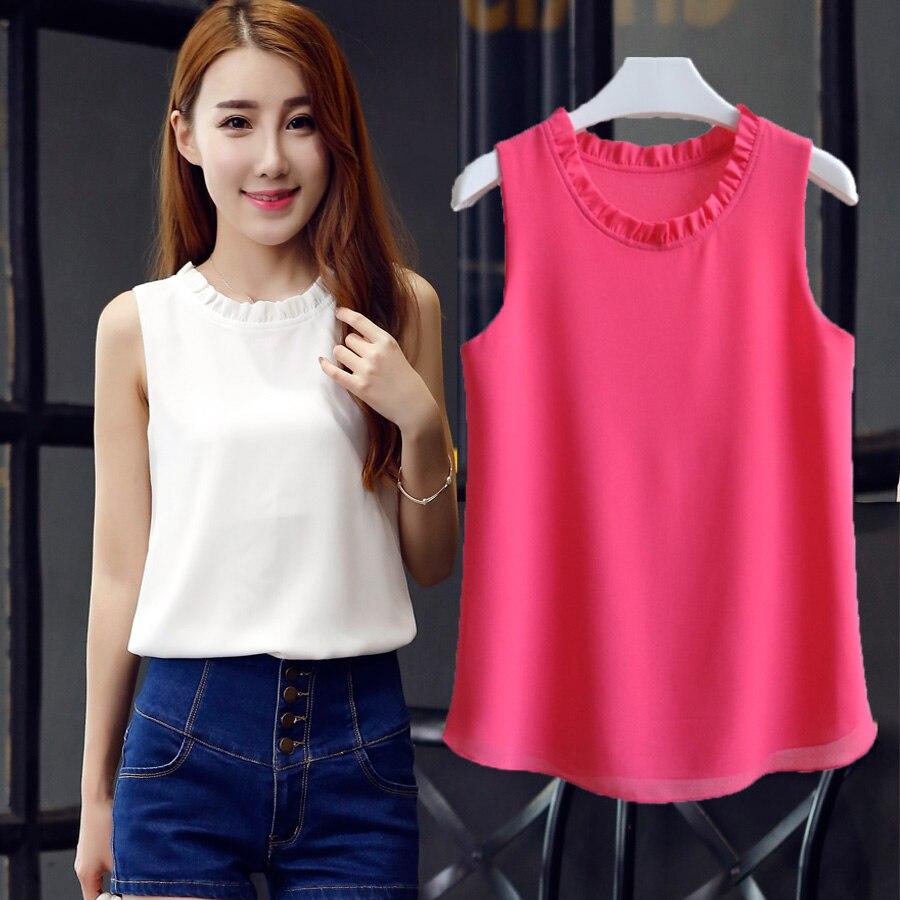 Vest Tops Rose Chiffon Xxl Loose Black White Plus-Size Women's Sleeveless New The Thin