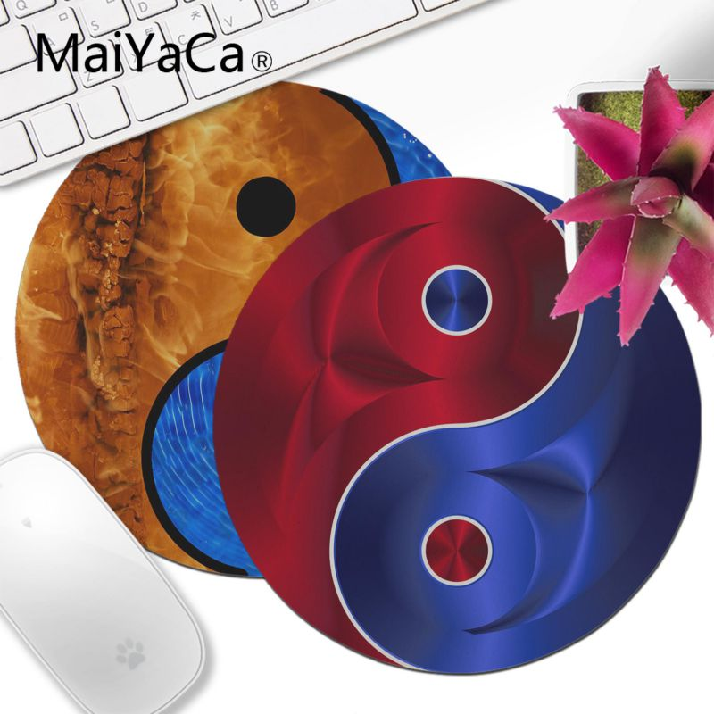 MaiYaCa Boy Gift Pad Gold And Silver Yin Yang Office Mice Gamer Round Mouse Pad Soft Comfort Mouse Mat Gaming Mouse Pad Desk Mat