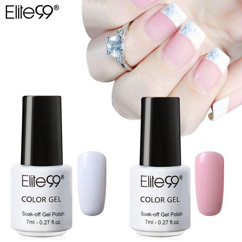 Набор для дизайна ногтей Elite99 УФ-гель для ногтей, розовый, белый лак для ногтей с наконечниками, маленький флакон 7 мл