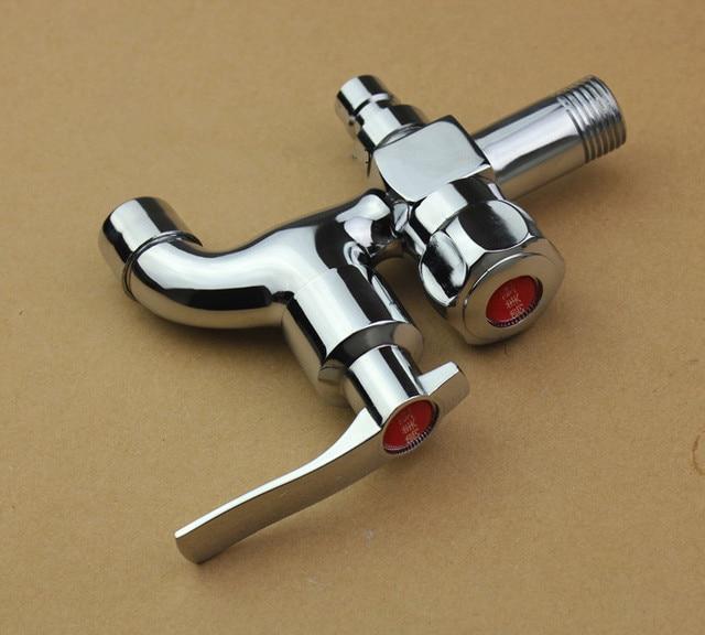 Double sortie d 39 eau jardin machine laver robinet en laiton du robinet salle de bains rapide - Double robinet machine a laver ...