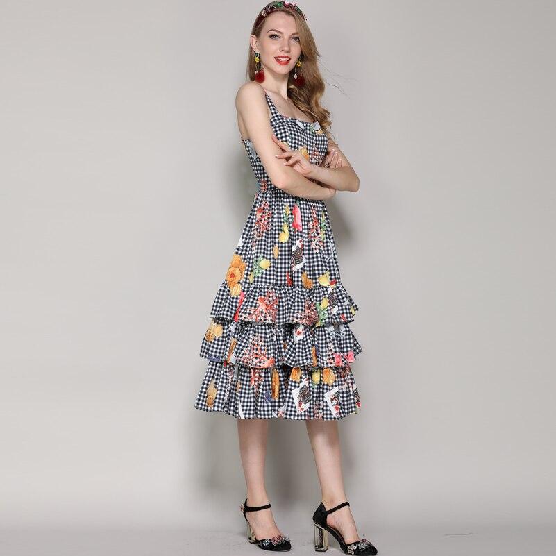 Taille Longue Motif Courroie Volants Femmes Cascade La De D'été Imprimer Plaid Multi Maxi Vintage Piste Robe Gaine Plus Designer f5PqxTp
