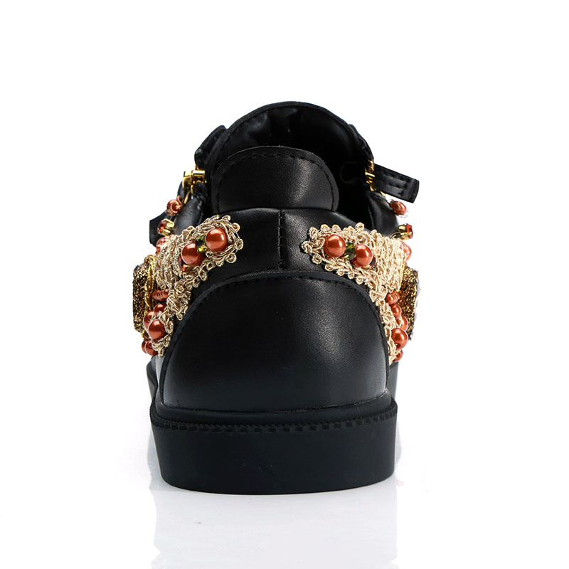 2019 Embroidery Sneakers Men Round Toe Rhinestone Diamond Embroidery Flats Shoes Men Fashion Loafer Shoes-in Formal Shoes from Shoes    3