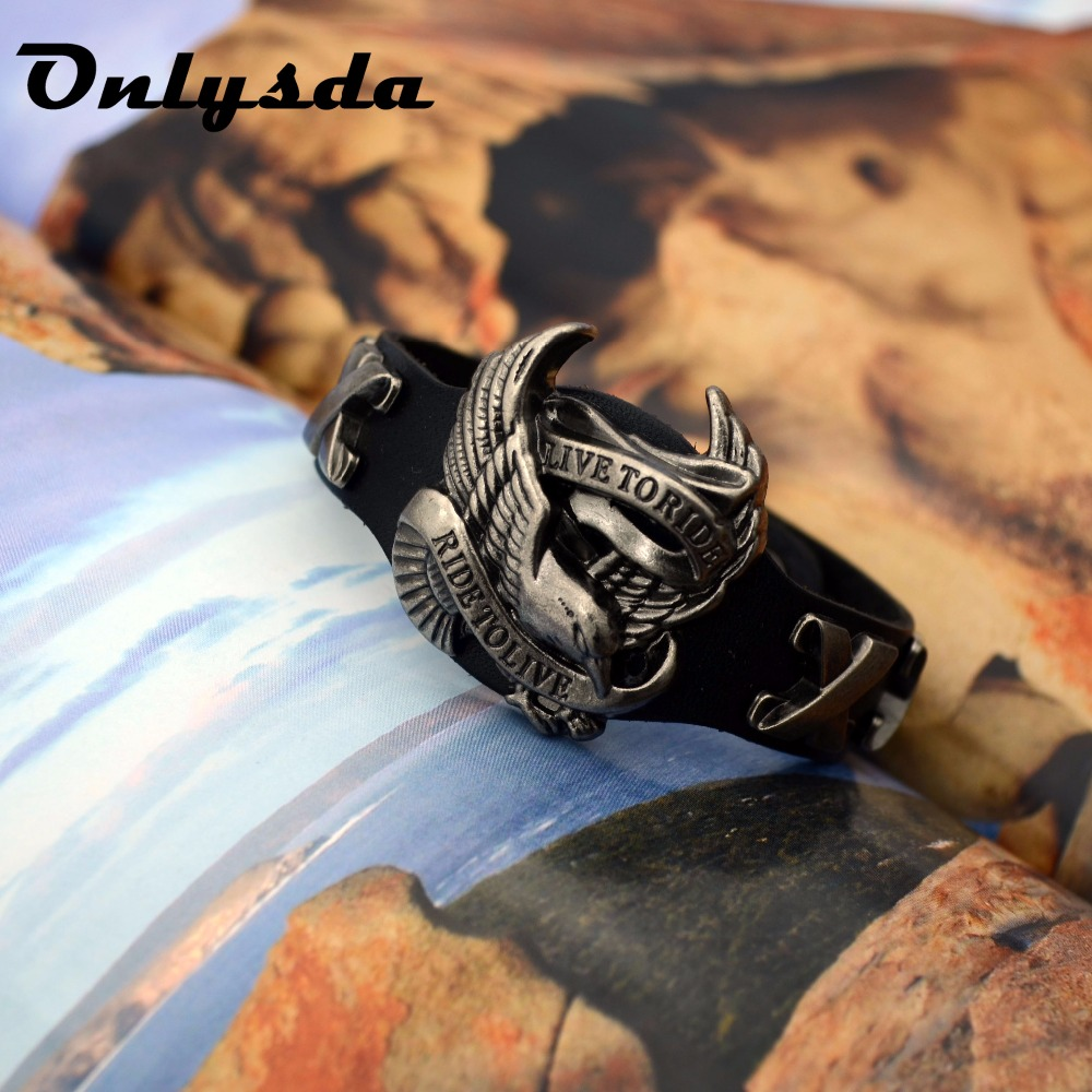 OSL035 Good detail Punk eagle Leather Bracelets Charm Bracelets & Bangle for Men Fashion Jewelry Best Gifts free shipping Браслет