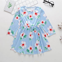 Baby girl clothes 2019 spring and autumn models little girl dress female baby long-sleeved princess dress striped dress