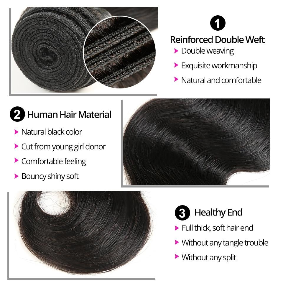 Indisk hårkroppsvåg Human Hair Bundles 1/3/4 Bundles Human Hair - Mänskligt hår (svart) - Foto 3