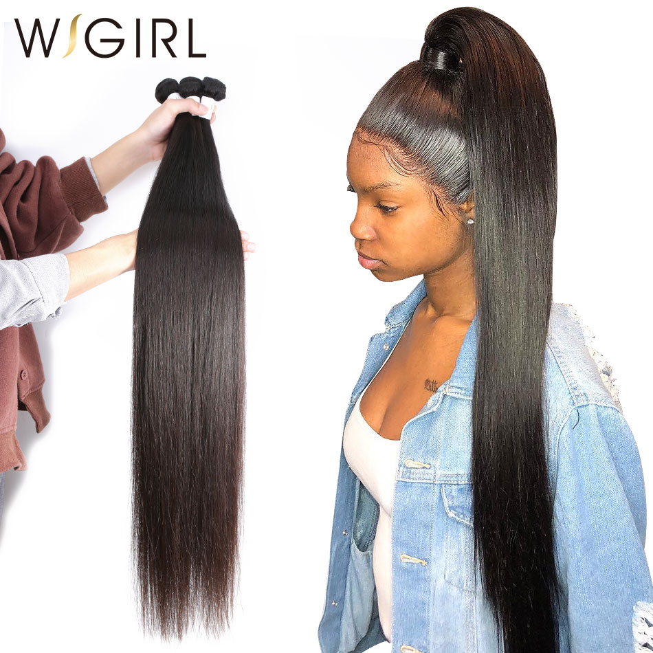 Wigirl Hair Straight Brazilian Virgin Longer Length 30 to 36 1 Piece Human Hair Weave Bundles