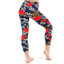 d1dbd55eb37 Women Leggings Red Floral Pants High Waist Plus Size Elastic Trousers Workout  Sweatpant Streetwear Legging Wholesale