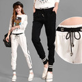 Pantalón Chándal de Las Mujeres 2016 de Corea Casual Rayas Lazo de La Cintura de Punto Pantalones de Algodón Negro Blanco Gris pantalones mujer