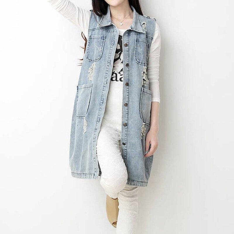 2016 New autumn women outerwear Four pockets loose denim long jacket lady vintage <font><b>jeans</b></font> jacket Coat plus size XXL XXXL XXXXL 5XL