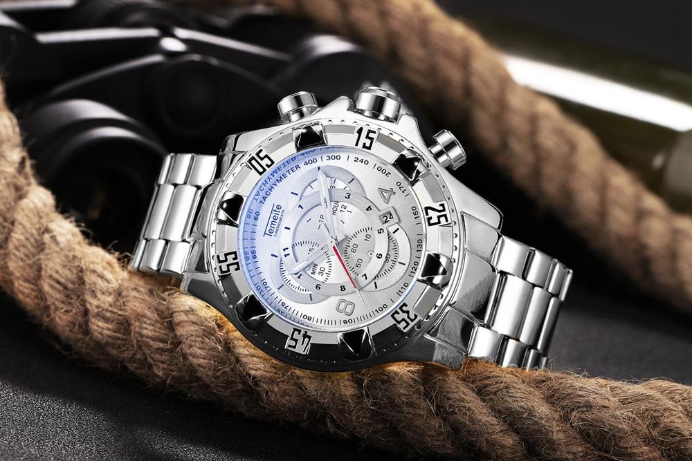 19 Top Brand Luxury Mens Oversize Watch Gold Business Steel Quartz Clock Waterproof Sport Military Chronograph Male Wristwatch 37