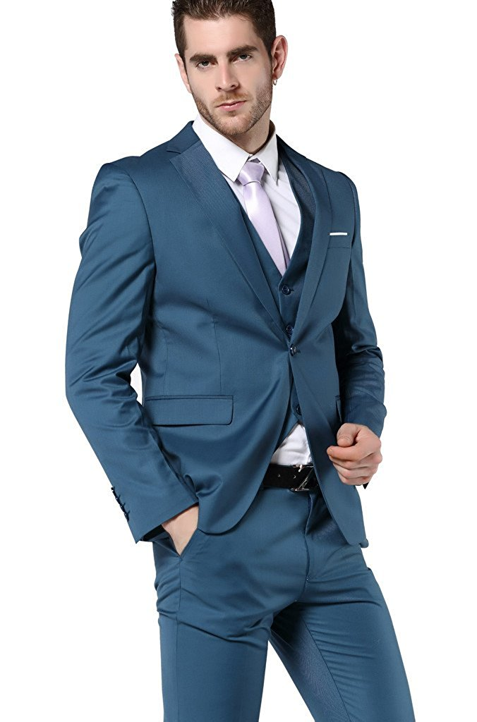 Men\'s One Button Slim Fit 3 Piece Dress Suits Prom Dress Suit Set ...