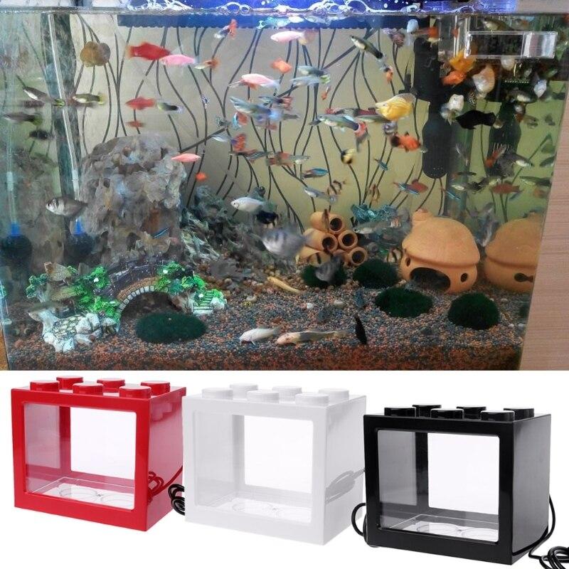 Usb Mini Akuarium Ikan Tangki Dengan Lampu Led Ringan Ikan Cupang Berjuang Silinder Akuarium Tanks Aliexpress