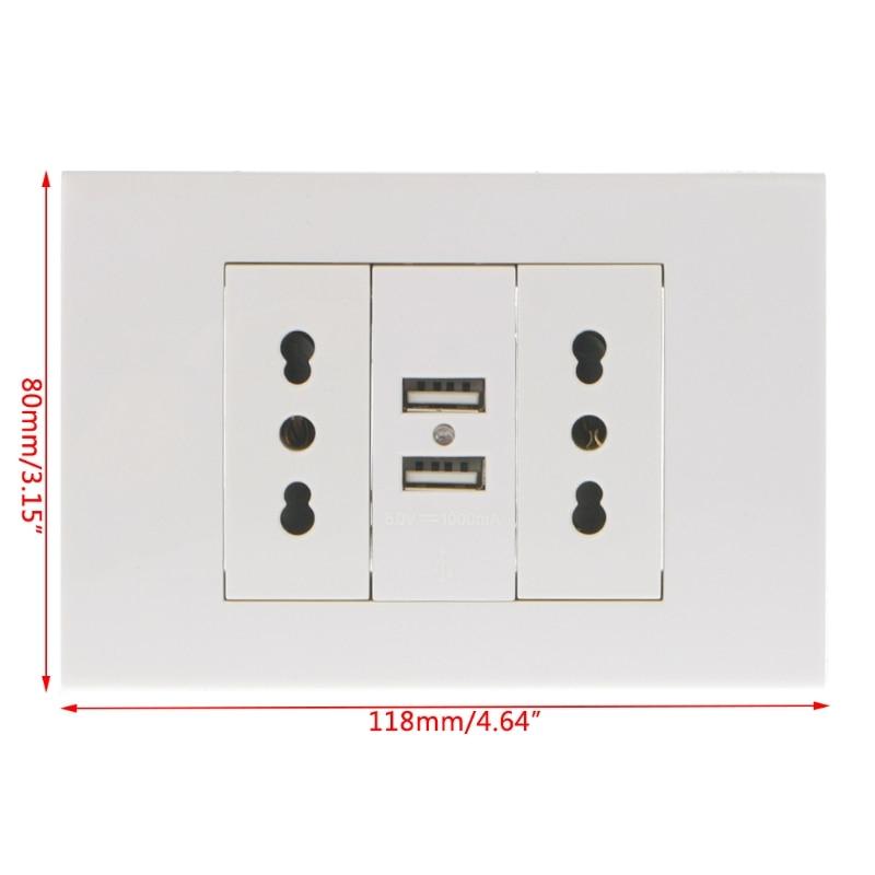 16A WallDouble Socket Charger Adapter Double USB Ports EU Plug Power Outlet Panel adaptador de cable