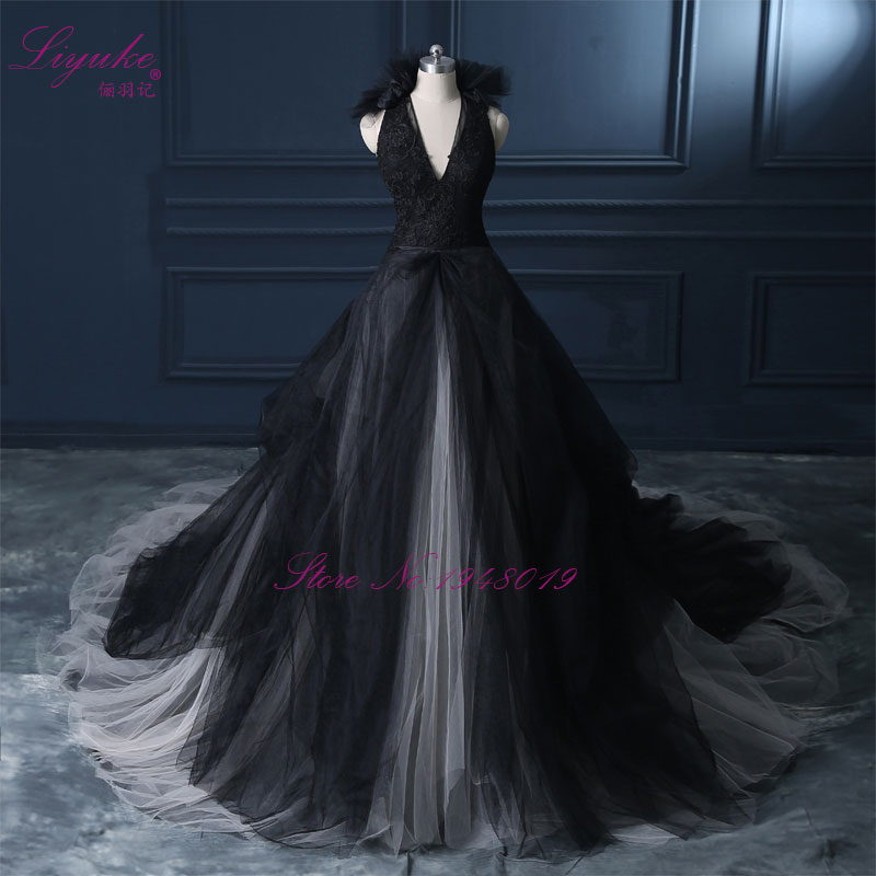 Buy liyuke halter a line black wedding for Images of black wedding dresses