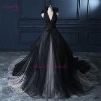 Liyuke Halter Une Ligne Noir De Mariage Robe 2017 Robe De Mariage Comte Train Princesse Vintage Robe De Mariée
