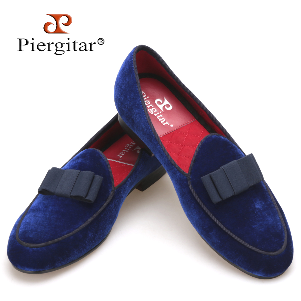 Piergitar Royal blue velvet Handmade men shoes with navy Bowtie Fashion Prom and Wedding men dress loafers Plus size male's flat