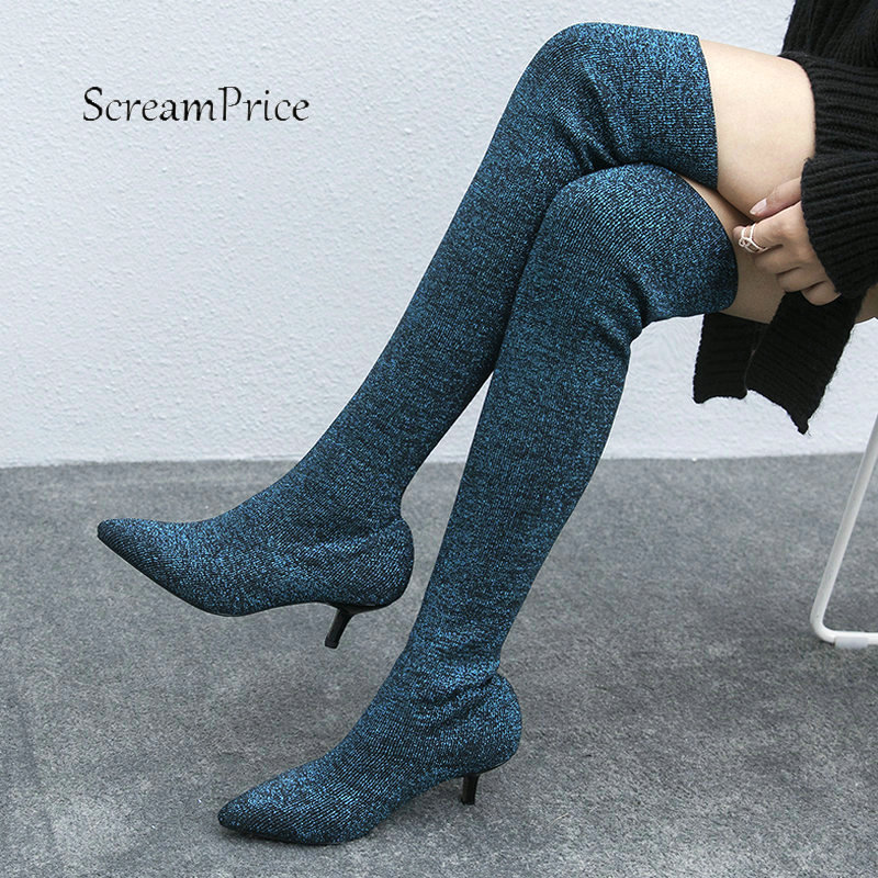 Women High Quality Knitting Thin Heel Over the Knee Boots Fashion Slip On Pointed Toe Spring Autumn Stretch Thigh Boots Gray women high quality comfort knitting thick heel ankle boots fashion slip on flower pointed toe spring autumn sock boots black