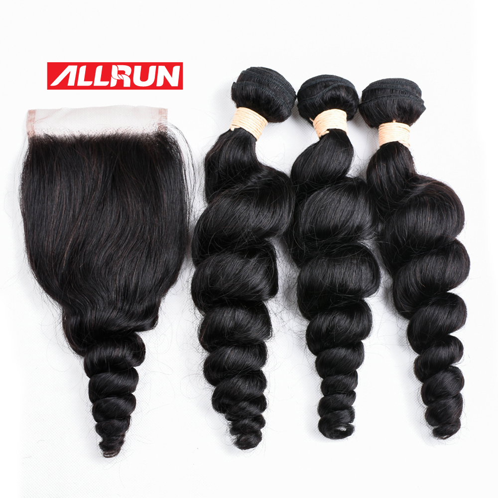Allrun 3 Pcs Malaysian Loose Wave Bundles With 4*4 Lace Closure 100% Human Hair Weave Free Part Closure Non Remy