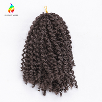 ELEGANT MUSES 8 Inches 90g Set Synthetic Low Temperature Fiber Braids Malibob Curly Twist Crochet Braiding