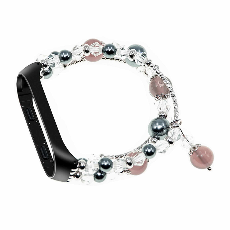 Rosa Bianco Grigio Delle Donne Colorato Cinturino di Vigilanza per XIAO mi mi fascia 3 Braccialetto di Diamanti wristband Per Xiao mi Mi fascia 3 con la Copertura