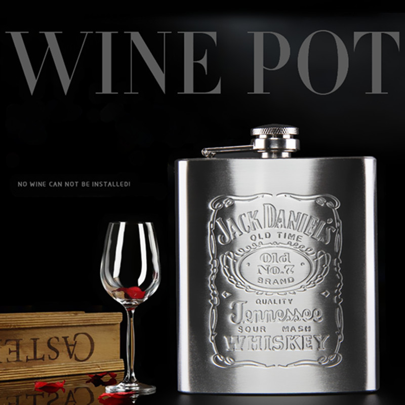 7oz 8oz Portable Stainless Steel Hip Flask Flagon Whiskey Wine Pot Leather Cover Bottle + Funnel Travel Tour Drinkware Wine Cup