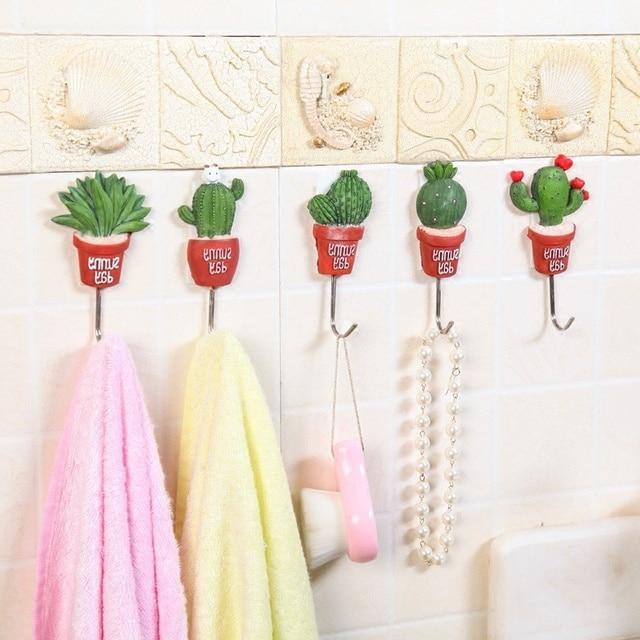 5pcs Korea potted succulents wall hooks Cute Self Adhesive bag hanger key  holder organizer kitchen home