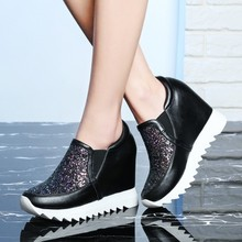 genuine leather women sneakers Platform Shoes fashion bling Height Increasing Ca