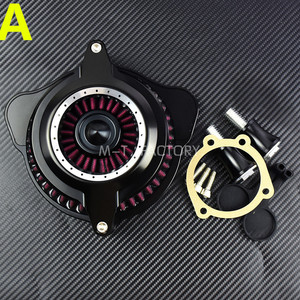 Image 2 - Motorcycle Air Cleaner Intake Filter System Black For Harley Sportster 91 17 Dyna Softail 93 15 Touring Street Road Glide 08 16