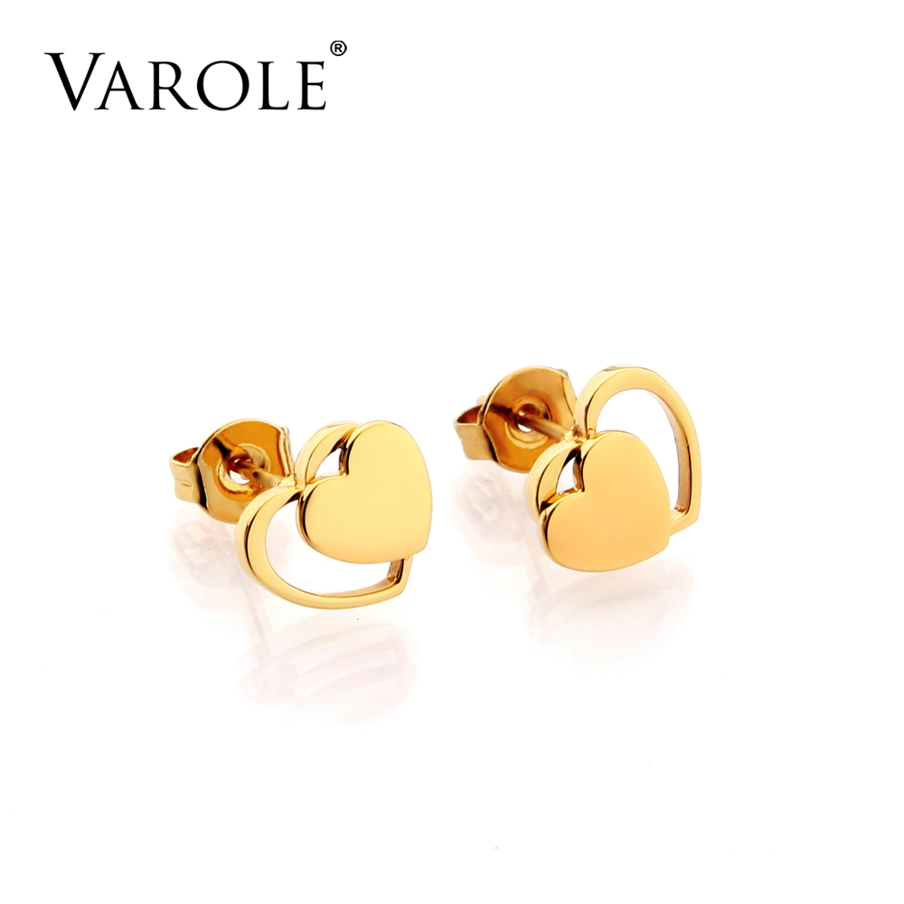 VAROLE Heart Shape Studs Earrings For Women Stainless Steel Gold Color Brincos Oorbellen цена
