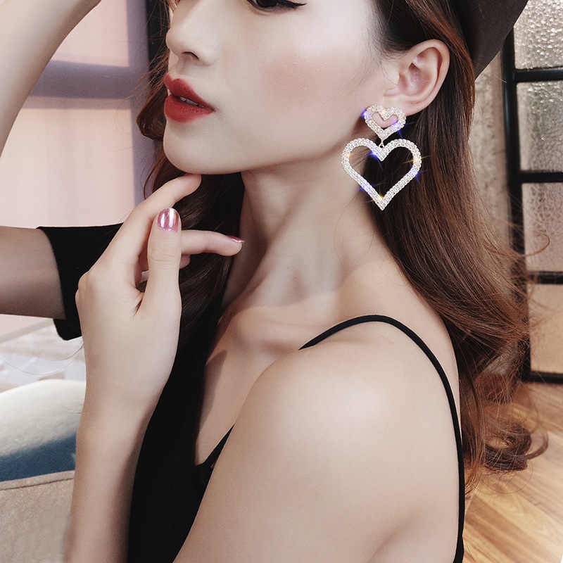 Dominated Exaggerated fashion crystal double heart earrings contracted joker long Women Drop earrings Jewelry