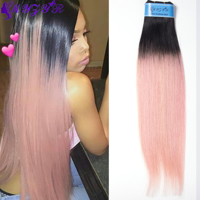 7atop Rose Gold Ombre Human Hair Extensions Brazilian Straight Hair