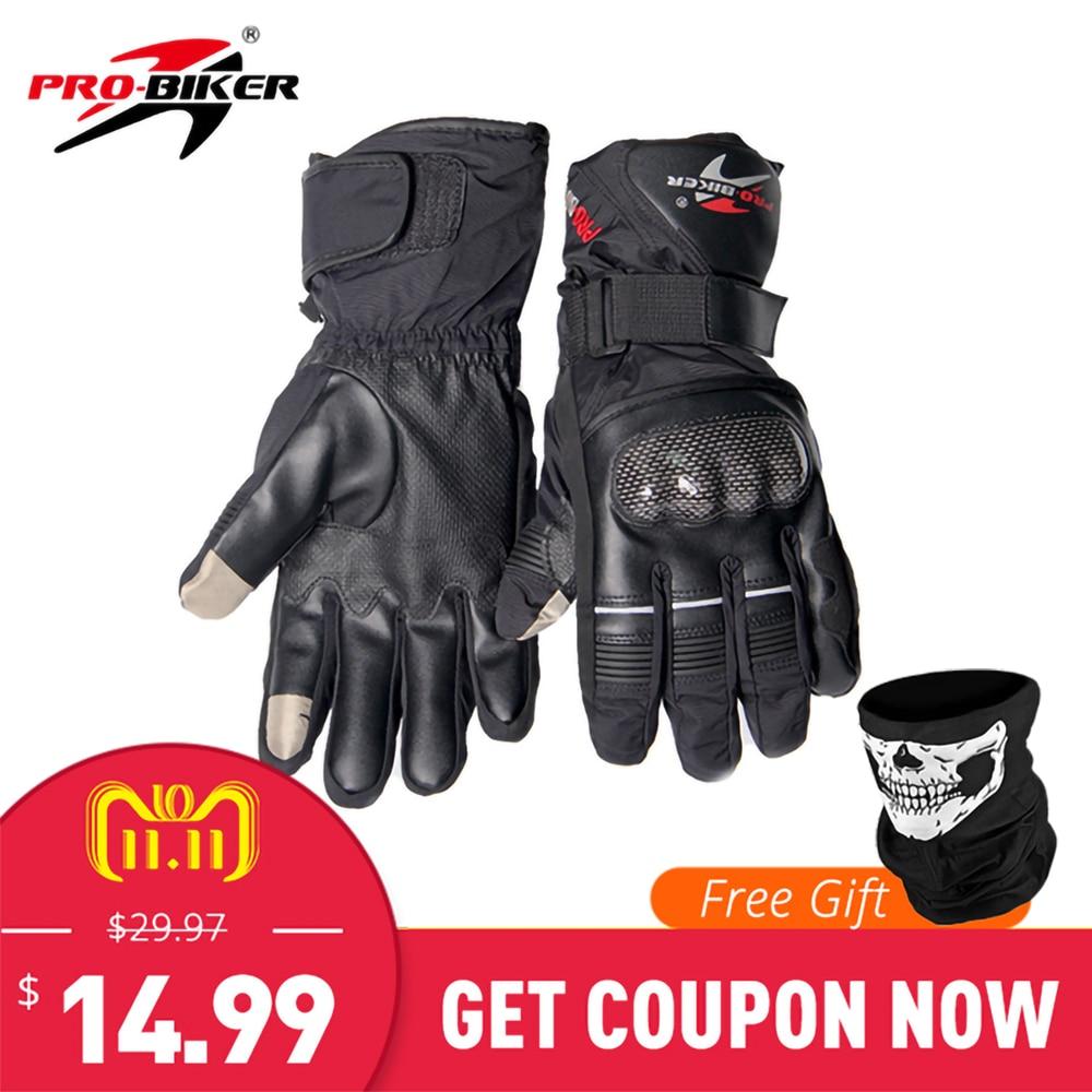 PRO-BIKER Motorcycle Gloves Waterproof Winter Thermal Warm Motocross Gloves Motorcycle Skiing Snowboarding Gloves Guantes Moto цена
