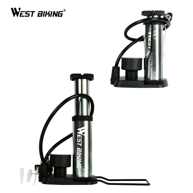 WEST BIKING High Pressure Bicycle Pump 120 Psi MTB Bike Pump Portable Pump With Pressure Gauge Pompa Bomba Ultra-light Bike Pump