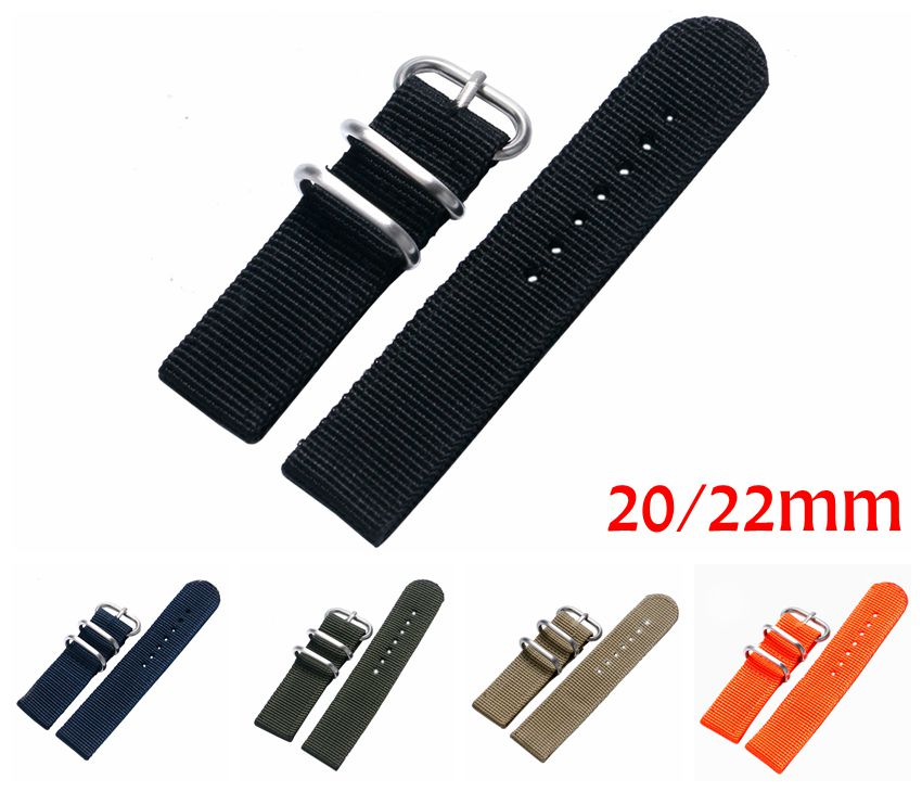 купить 20mm 22mm Military Nylon Fabric Canvas Wrist Band Strap Stainless Steel Black/Silver Pin Buckle 7 Colors For Men Women Watch по цене 149.58 рублей