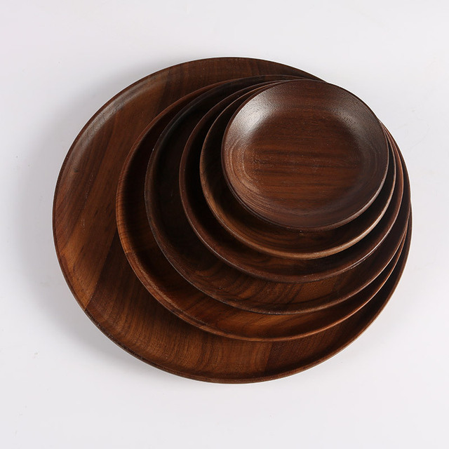 High Quality Plates Black Walnut Wooden Tableware Beech Wood Plate Handmade Log Dish For Daily Use Gifts