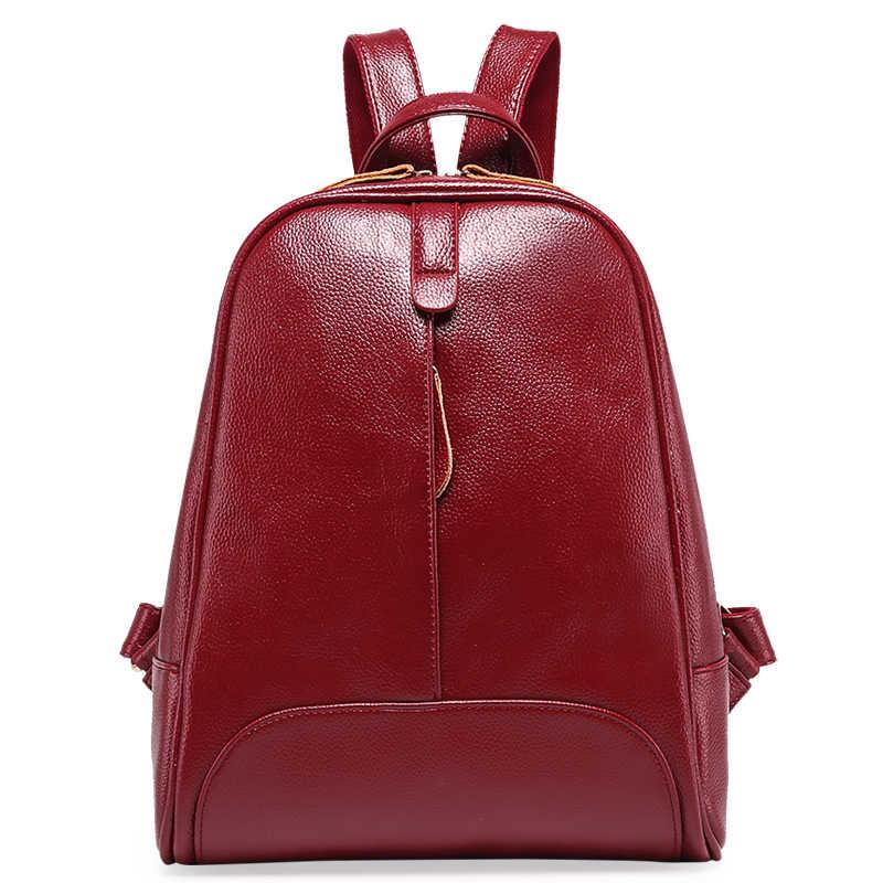 716d775ca2cd Дизайн Для женщин рюкзаки из натуральной кожи женский рюкзак для девочек  большой Ёмкость плеча дорожный рюкзак
